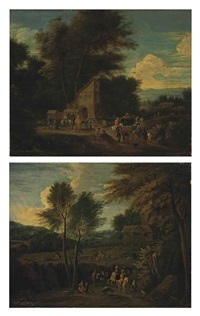 a wooded landscape with a hunting party near a lodge (+ a wooded landscape with a hunting party in a clearing; pair) by fransz boudewijns and mathys schoevaerdts
