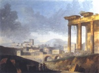 entrée de ville et ruines romaines by jacques michel denis lafontaine