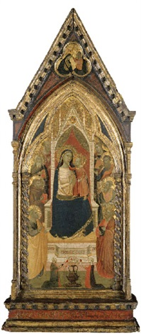 the gould madonna madonna and child with saint peter saint francis and six saints adorned by two patrons christ blessing the virgin in the pinnacle by taddeo gaddi
