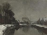 a belgian town in winter by albert baertsoen