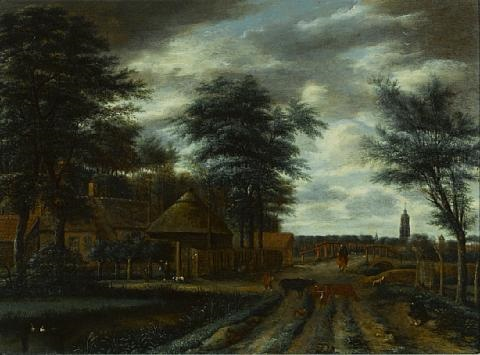 a country lane with a farm and figures and cattle in the foreground by pieter jansz van asch