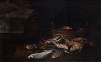 natura morta di pesci su scoglio, entro tinozza e veduta marina by elena recco