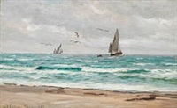 sailing ships off the coast of skagen by carl ludvig thilson locher