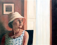 girl with a white hat by brian smyth