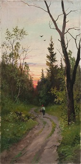 woman on a path by valerian vitalievich babadin