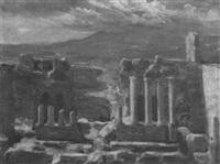 das römische theater in taormina mit dem ätna im hintergrund by bernard gobiet