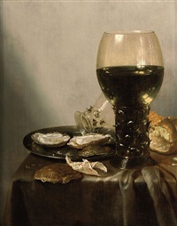 a roemer of white wine, a loaf of bread, oysters and a smaller roemer on a silver plate with a shell and a folded piece of paper containing pepper... by adrian j. craen