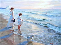 two girls with their dog on the beach by aleksandr averin