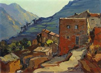vue du village de félicetto, corse by pierre bach