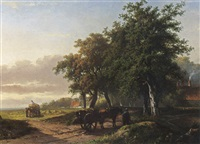 haycarts near the fields by georgius heerebaart