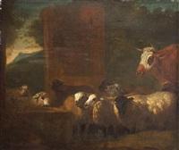 un troupeau de moutons et une vache près de l'abreuvoir by jacob van der does the elder