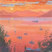 sunset over holy loch by norman edgar