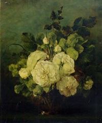 white roses in a glass vase by adrienne jacqueline 's jacob