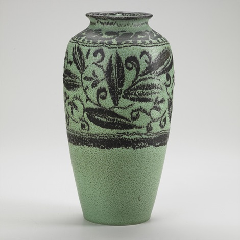 tall decorated mat vase with foliate pattern by william e hentschel