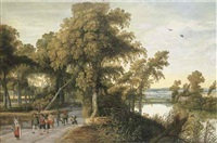 a wooded river landscape with soldiers, peasants and huntsmen on a path, a church through the trees beyond by willem van den bundel