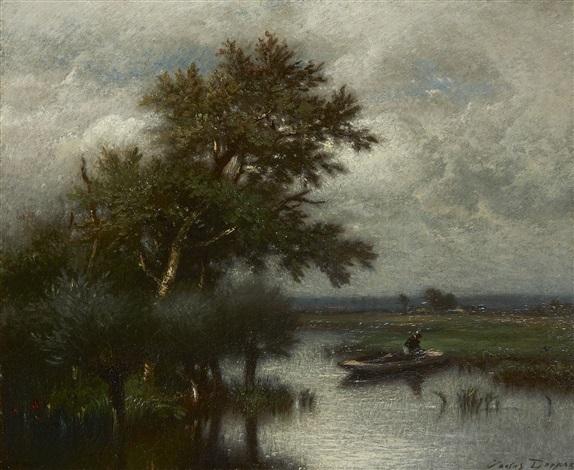 paysage à la barque by jules dupré
