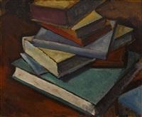 stilleben mit büchern (+ sketch, verso) by alexander kanoldt