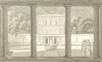 vue de la cour et de la façade intérieure du casin de la villa pia by percier et fontaine