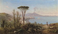 naples and castello dell'ovo with mount vesuvius beyond by achille solari