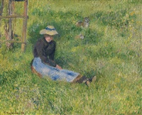 paysanne assise et chèvre by camille pissarro