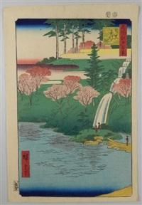série des 100 vues célèbres d'edo. planche 23 - meguro chiyogaike. l'étang de chiyogaike à meguro by ando hiroshige