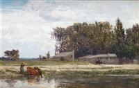 bord de rivière animé by emile charles lambinet