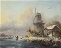 skaters by a windmill by frederik marinus kruseman