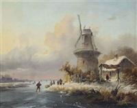 skaters by a windmill by frederik marinus kruseman