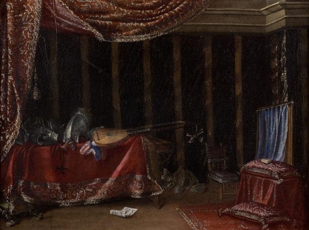 compositions darmures pièces dorfèvreries bouquet de fleurs et instruments de musique dans de riches intérieurs pair by francesco fieravino il maltese