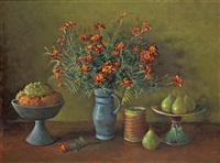 untitled (still life with flowers and fruit) by margaret hannah olley