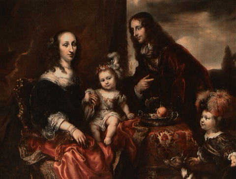 portrait of a family said to be colonel john hutchinson andhis family by jürgen ovens