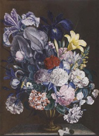 still-life with flowers including anemone, carnation, roses, sweet peas, woundwort and irises by john augustus simson