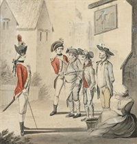 the unfortunates outside the old fortune tavern being press ganged by two young officers (+ a visit to the camp. maccaroni and a lady being shown a military camp by young ensigns, larger; 2 works) by henry william bunbury