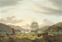 a royal navy frigate emerging from the dart estuary at dusk with dartmouth castle seen off her stern quarter by thomas luny