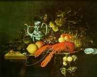 nature morte de fruit, verre de vin blanc et homard by laurens craen