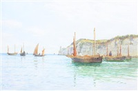 fishing boats in calm water off the coast by fritz b. althaus