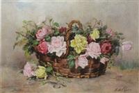 bouquet de roses dans un panier by marthe courtier