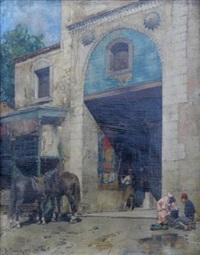 personnages et chevaux devant une mosquée by alberto pasini