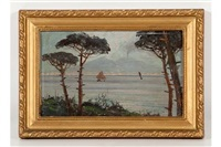 sailboats at the bay of naples, fisherfolk by mount vesuvius & a hilltop town at the bay of naples (3 works) by fernando del basso