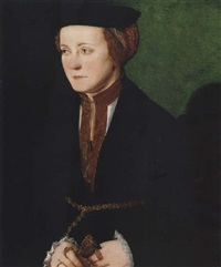 portrait of a noblewoman wearing black holding a pair of gloves by christoph amberger