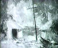 sommarlandskap med hus by arne aspelin
