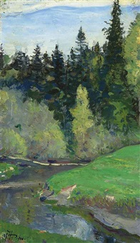 abramtsevo, the river vori by mikhail vasilievich nesterov