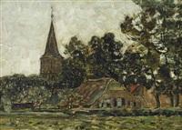 a view of gorssel (2 works) by jan adam zandleven