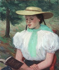 a girl reading by helge helme