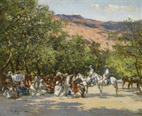 halt in the desert by victor pierre huguet