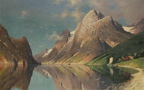 a mountain lake by fritz chwala