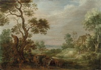 a wooded landscape with a herdsman and his herd, a cottage beyond by gysbert gillisz de hondecoeter