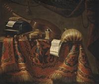 cassette, violon, guitare, carillon, mandore et partitions de musique sur un entablement recouvert d'un tapis by evaristo baschenis