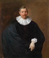 dreiviertelporträt des hubert du hot in schwarzem gewand by sir anthony van dyck