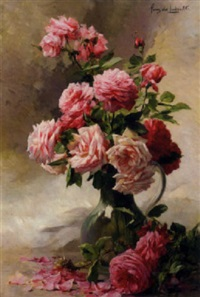 pink roses in a glass vase by albert tibule furcy de lavault